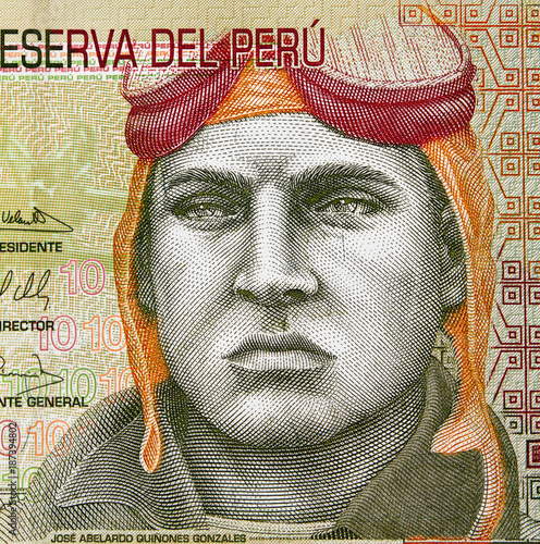 Jose Quinones Gonzales face portrait on Peru currency 10 soles (2009) banknote, Peruvian military aviator and national hero Canvas Print