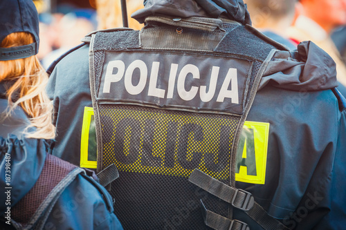 polish police officer, back view, close up Fototapeta