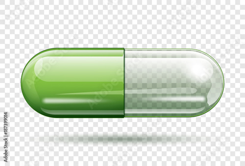Fotografia  transparent capsule pill isolated on transparent background