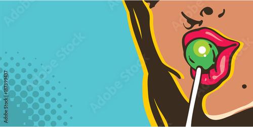 woman licking lollipop pop art style banner, red lips with lollipop