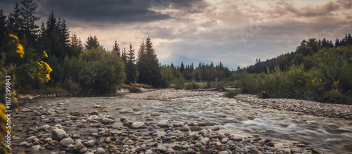 Aluminium Prints Forest river Bela River with Krivan Peak at Sunset in Slovakia