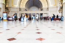 Closeup Of Red, Orange Tiled Marble Floor Squares With Bokeh In Union Station Entrance In Washington DC