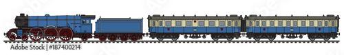Fotografie, Obraz The vintage blue passenger steam train