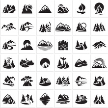 Mountain Icons Set, Hills, Forest, Wood, Trees, Rivers, Lakes, Nature Landscape Icons Collection