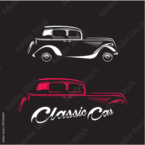 Classic Car Silhouette Isolated On Black Background Vintage Car