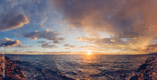 Panoramic sunrise scenery at the seaside