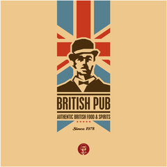 Naklejkabritish food, british pub label, beer, gentleman