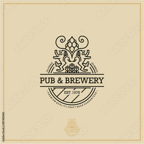 Fototapety, obrazy: beer label, flat style beer logo, pub and brewery emblem