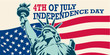 4th of July, United Stated independence day. USA. Statue of Liberty. Fourth of July