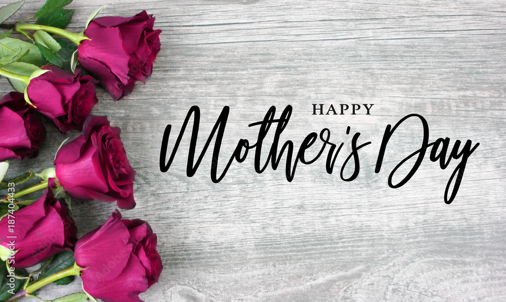 Fototapety, obrazy: Happy Mother's Day Calligraphy with Pink Roses Over Rustic Wood Background