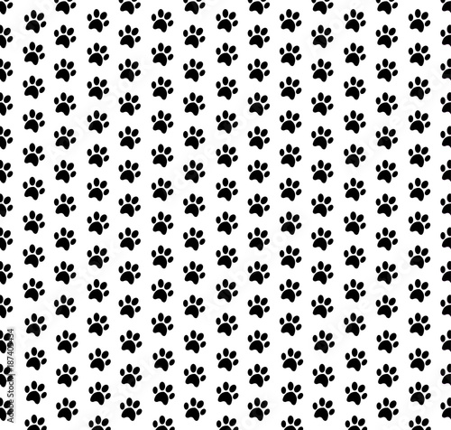 Cute Wallpaper With Black Seamless Pattern Of Animal Footprints On White Background
