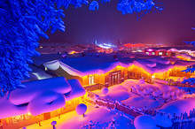 China's Snow Town Night Landsc...