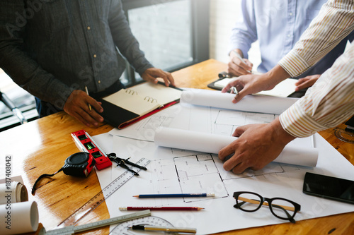 Meetings in home and property engineering companies of the group of professional Canvas Print