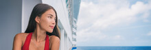 Cruise Vacation Luxury Travel Chinese Woman Portrait On Europe Cruise Ship Holiday In Mediterranean Sea. Tourist Girl On Deck Of Boat Looking At Sea, Panorama Banner.