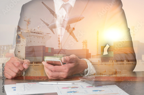 Double exposure of businessman working with smartphone, container cargo ship, cargo plane and airplane take off at sunset as business, technology, communication and import export of logistic concept.