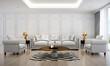 Leinwanddruck Bild - The luxury living room interior design and white pattern wall background