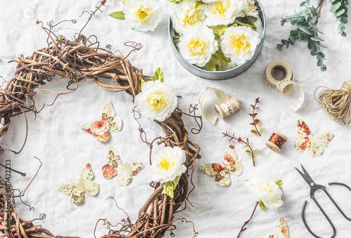 Handmade home interior decoration grapevine wreath with paper handmade home interior decoration grapevine wreath with paper flowers and butterflies on a light background mightylinksfo