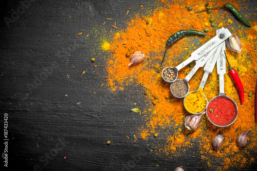 Printed kitchen splashbacks Spices Spicy spices in measuring spoons.