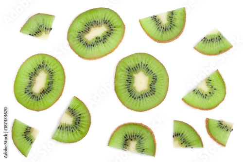 Valokuvatapetti sliced kiwi fruit isolated on white background