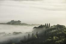 Misty Landscape Of Orcia Valley, Tuscany, Italy, Europe