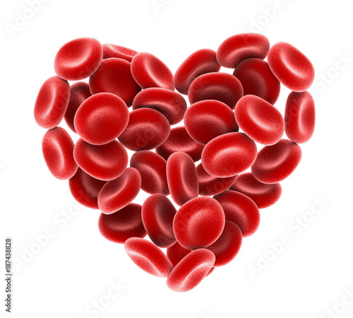Fotografía Heart of Red Blood Cells Isolated