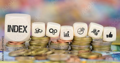 Index / Münzenstapel mit Symbole Wallpaper Mural