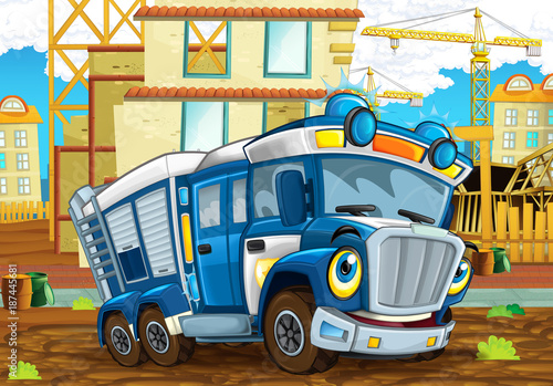 Fototapety, obrazy: cartoon funny looking policeman truck driving through the city near construction site - illustration for children