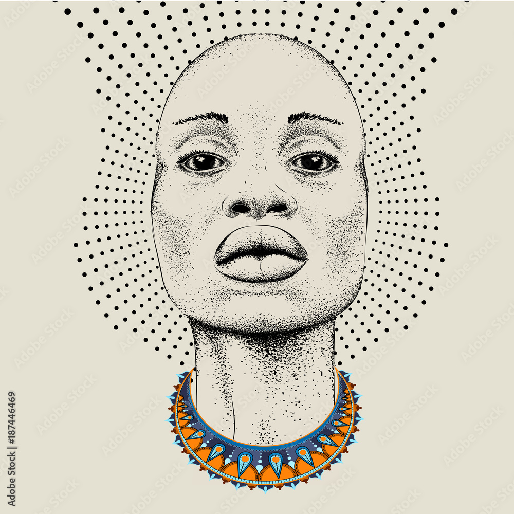 Fototapeta African woman with African in beads, tribal background. Beautiful black woman.  Vector illustration