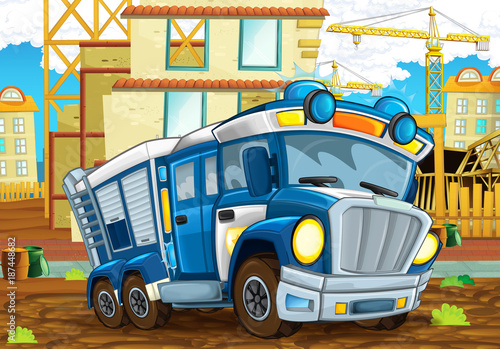 Fototapety, obrazy: cartoon scene with funny looking police car driving through the  city near the construction site illustration for children