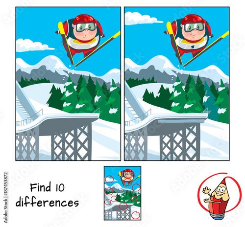 Staande foto Kinderkamer Ski jumping. Find 10 differences. Educational game for children. Cartoon vector illustration