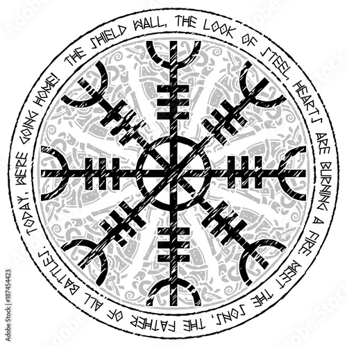 Photo  Helm of awe, helm of terror, Icelandic magical staves with scandinavian pattern,