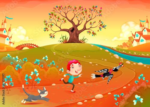 Staande foto Kinderkamer Friendship between a boy, woodpecker and kitten