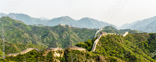 Panorama of Great Wall of China among the mountains near Beijing, China