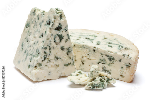 Photo  blue cheese on a white background
