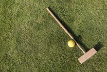 Croquet Mallet And Ball On A G...