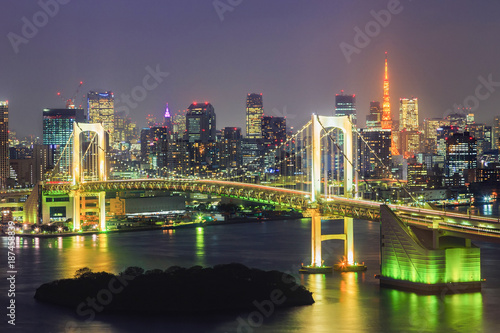view of Tokyo Bay , Rainbow bridge and Tokyo Tower landmark Poster