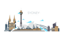 Sydney City Vector Panorama. A...