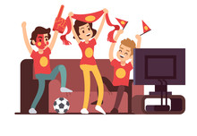 Soccer Fans And Friends Watching Tv On Couch. Football Match Supporting People Vector Illustration