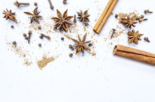 Cinnamon, Cloves And Star Anise With Isolated On White Background.