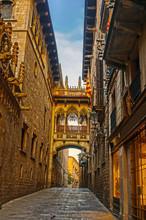 Barri Gothic Quarter In Barcelona, Spain