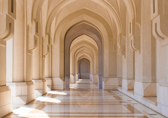 Public square colonnade in the old city of Muscat, Oman