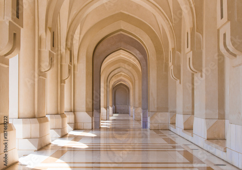 Fotografie, Obraz  Public square colonnade in the old city of Muscat, Oman
