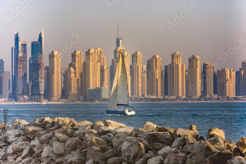 Garden Poster Palm tree Marina district skyline, Dubai, UAE