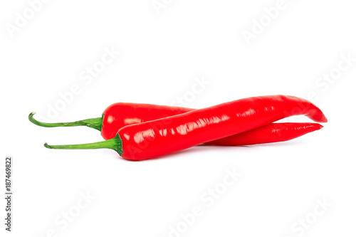 Staande foto Hot chili peppers two red hot chilli pepper isolated on white background