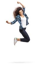 Overjoyed Teen Girl Jumping An...
