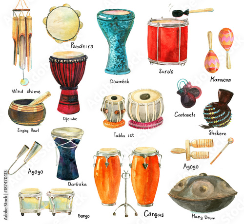 set of percussion instruments buy this stock illustration and