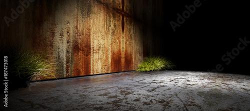 Fondo de arquitectura interior.Pared y suelo de cemento en la oscuridad.Espacio vacio