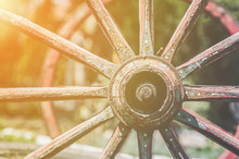 Colored Vintage Carriage Wheels