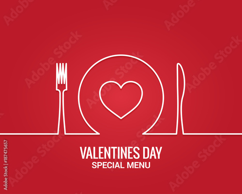 Photo Valentines day menu. Fork and knife with plate line.