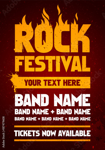 vector illustration rock festival party flyer design template with